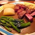 【鉄板焼:モンシェルトントン】 (トップサーロインステーキ レア&焼き野菜)1